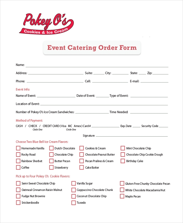 Sample Catering Order Form   Free Documents In Pdf