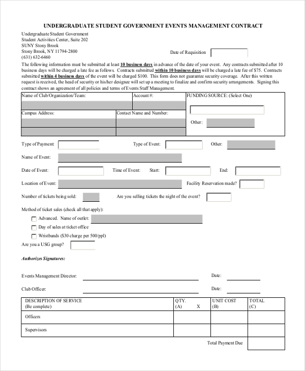 event management contract form