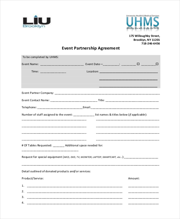 event partnership agreement