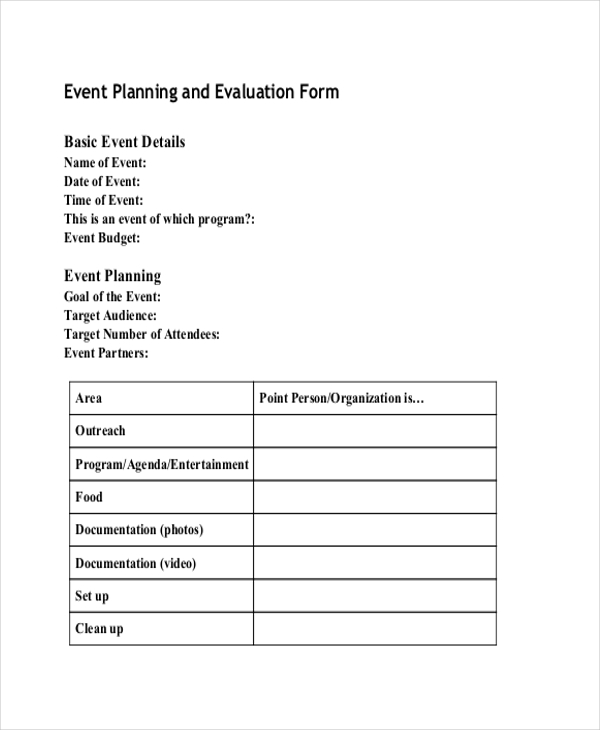 Sample Event Planning Forms   Free Documents In Pdf