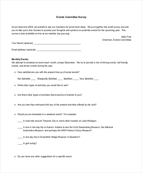 events committee survey