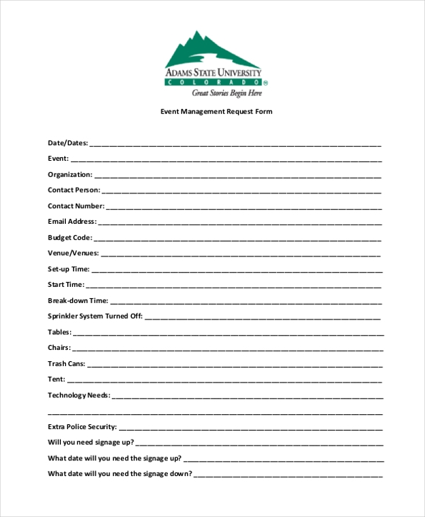 events management request form