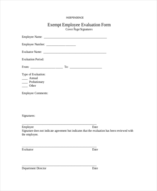exempt employee evaluation form