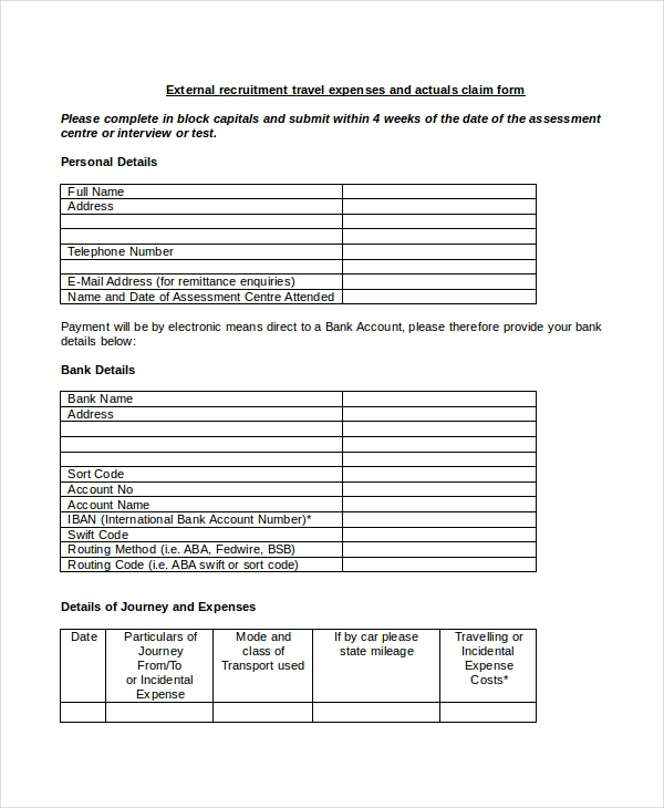 sample travel expense form