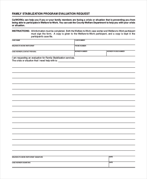family stabilization program evaluation request form