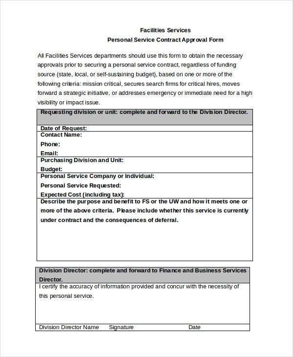 Service Contract Approval Form   Free Documents In Pdf Doc