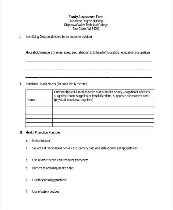 family assessment form