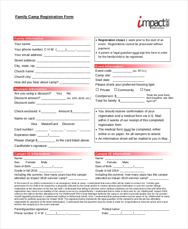 family camp registration form