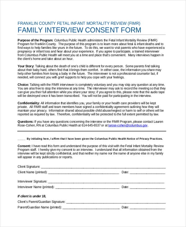Sample Interview Consent Form 9 Free Documents in Word PDF – Interview Consent Form