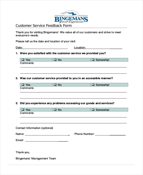 Sample Service Forms 23 Free Documents in PDF – Customer Contact Information Form