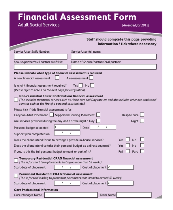 Sample assessment forms 25 free documents in word pdf for Financial assessment template