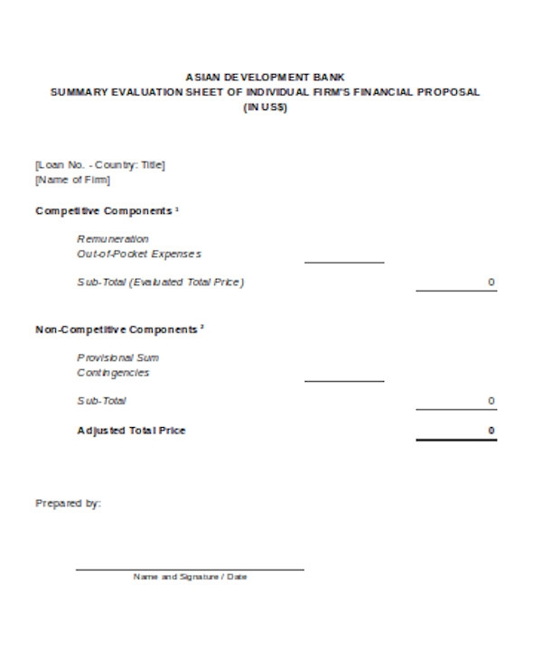 financial proposal evaluation form