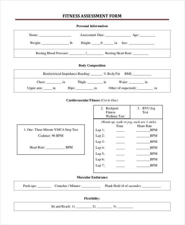 Sample Assessment Forms 25 Free Documents in Word PDF – Fitness Assessment Form