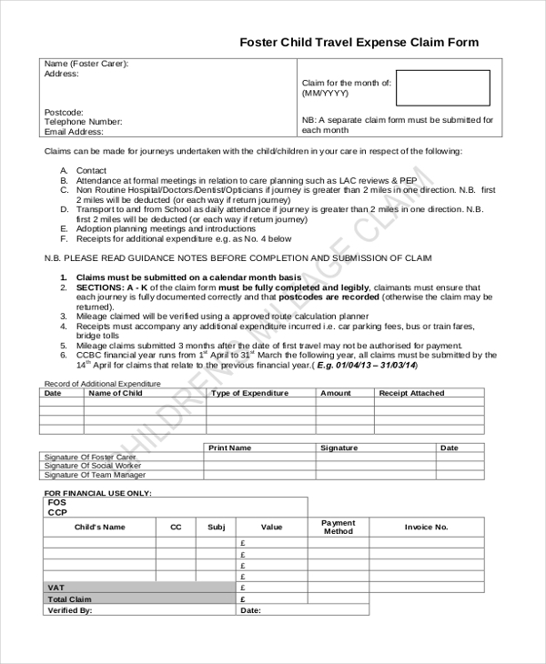 foster child travel expense claim form