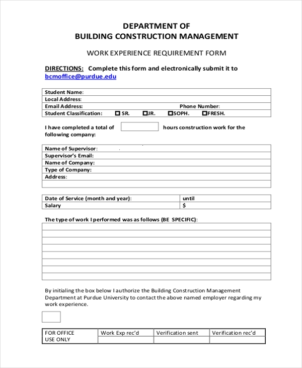 free construction form