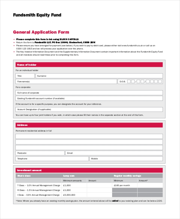 general application form fundsmith equity fund
