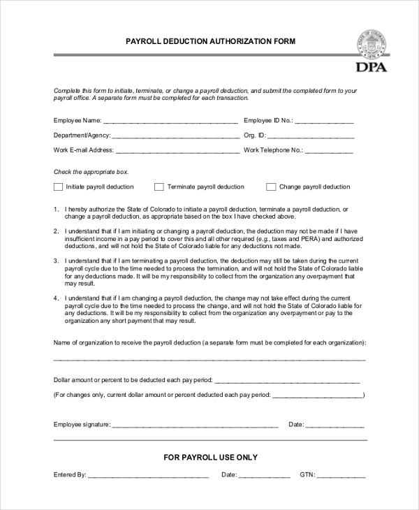 generic payroll deduction form