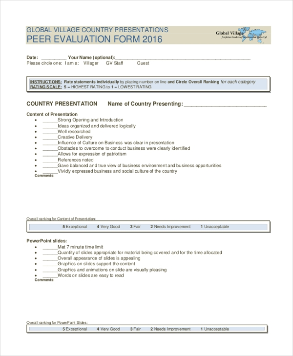 global village peer evaluation form
