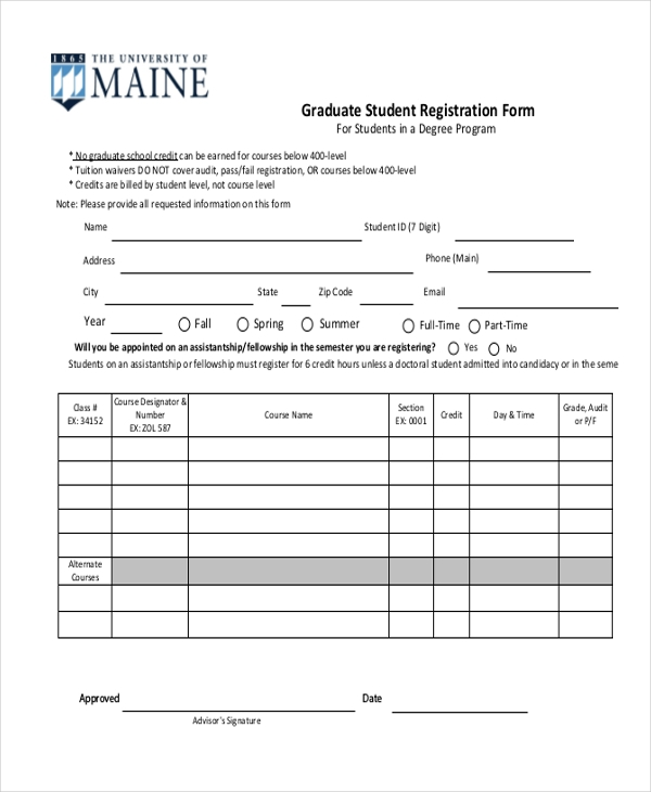 Sample Student Registration Form   Free Documents In Pdf