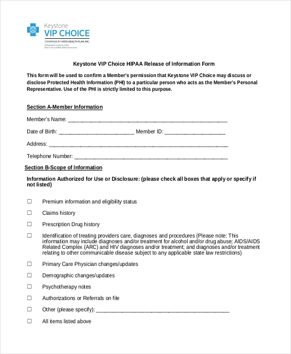 Release Of Information Form Hipaa Release Of Information Form
