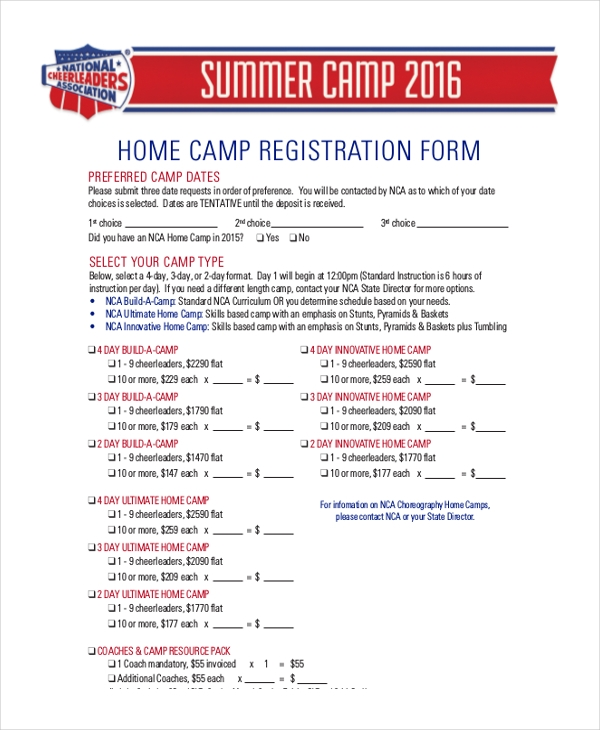 home camp registration form