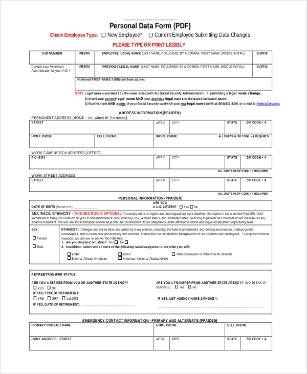 hr legal form