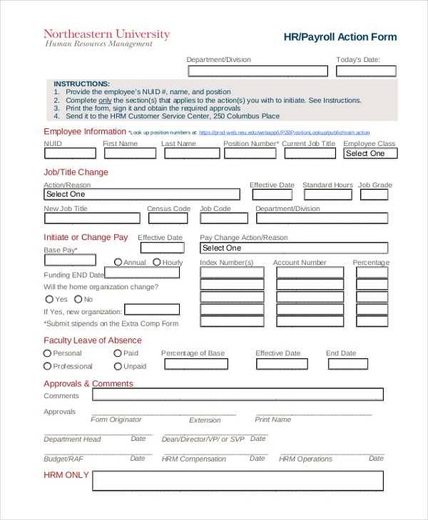 hr payroll form