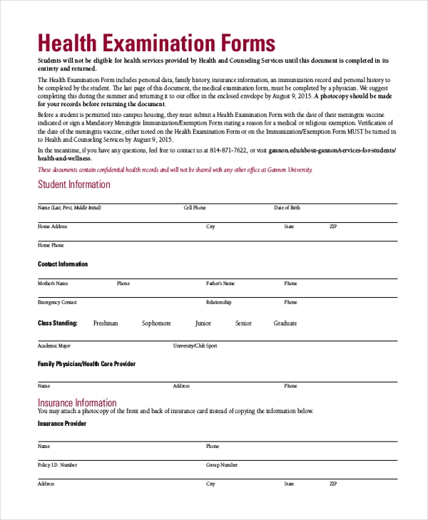 health examination form
