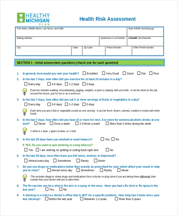 health risk assessment form