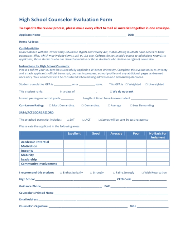 high school counselor evaluation form