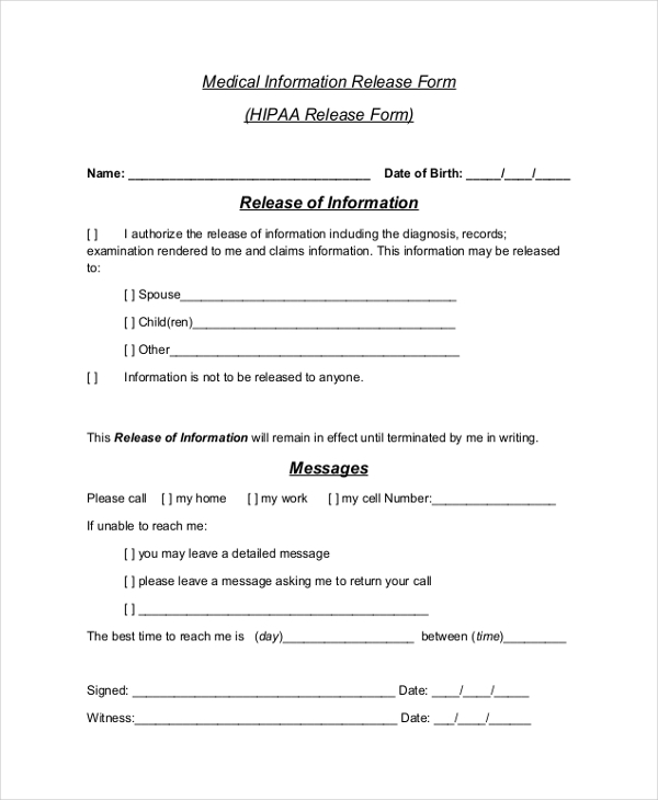 Sample Hipaa Release Form   Free Documents In Pdf