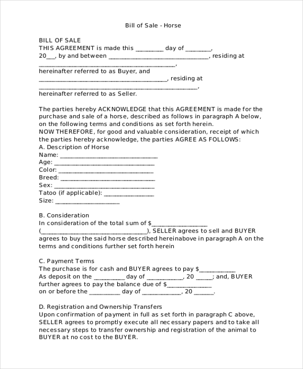 Sample Bill Of Sale Forms   Free Documents In Word Pdf
