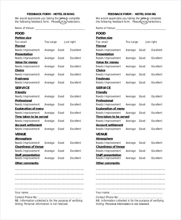 hotel feedback form