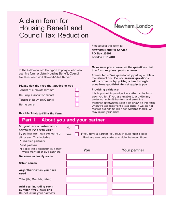 housing benefit claim form