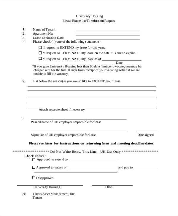 Lease Extension Forms - 8+ Free Documents In Pdf