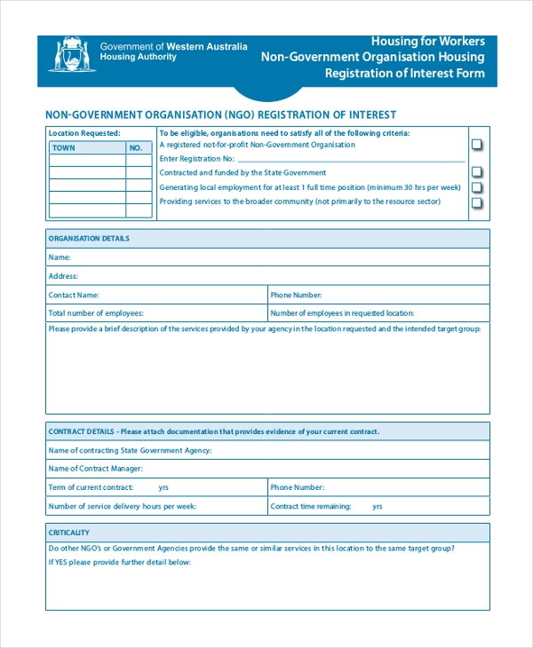 housing worker ngo resistration form