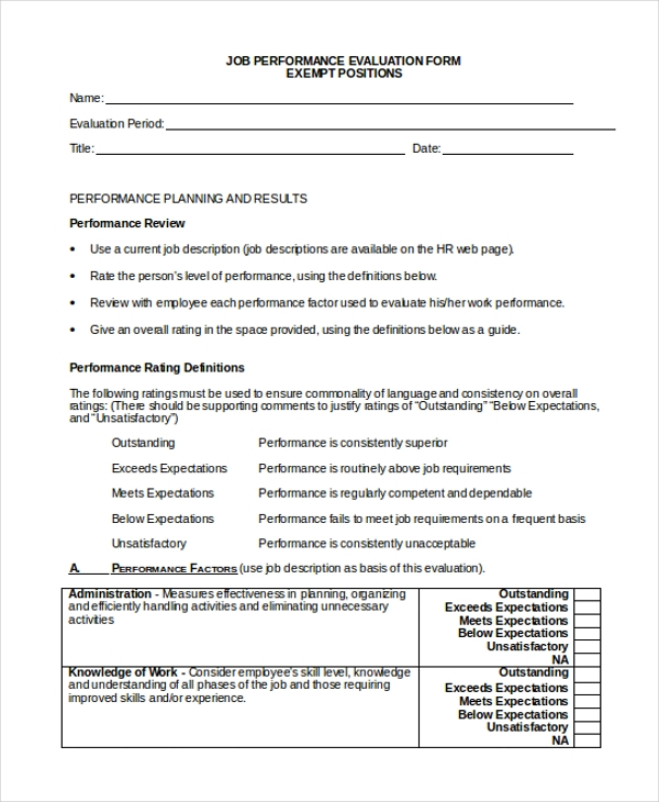 human resource job performance elaluation form