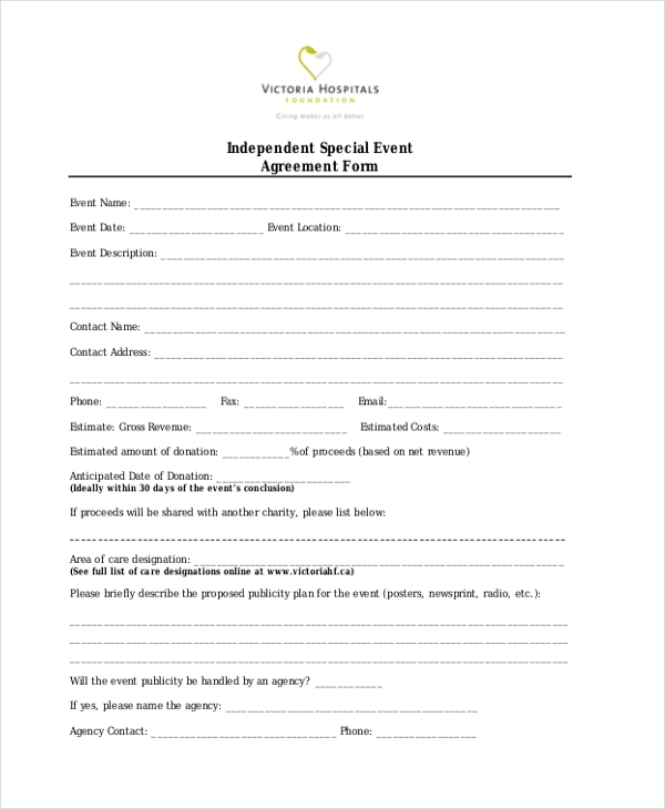 Independent-Special-Event-Agreement-Form Sample Event Vendor Application Form on reunion template,