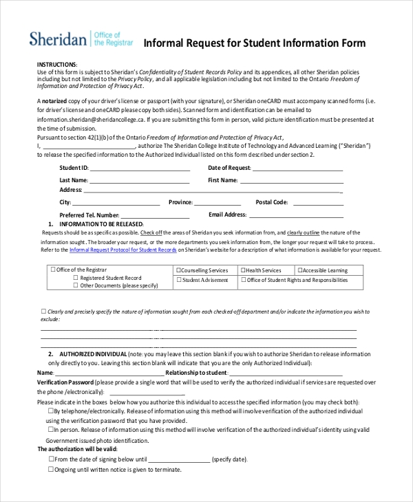 informal request for student information form