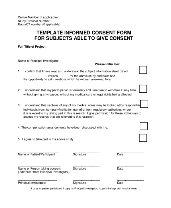 Sample Informed Consent Forms 11 Free Documents in Word PDF – Research Consent Form Template