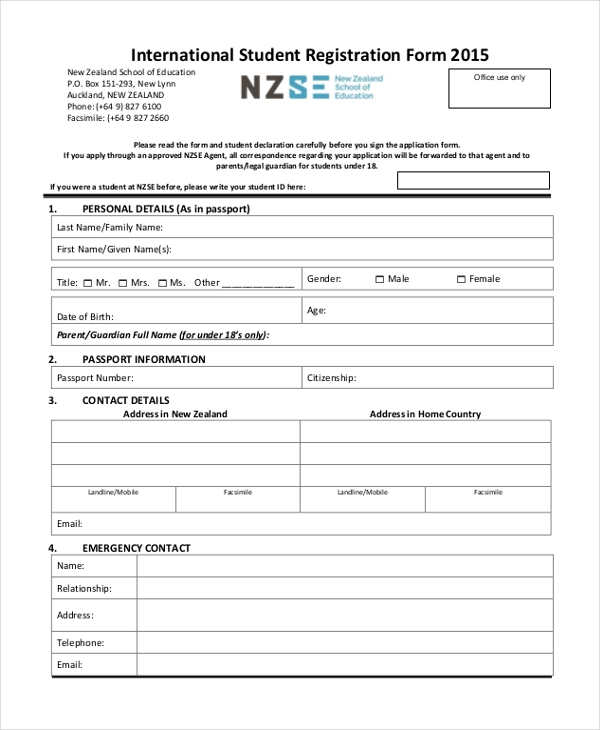 international student registration form