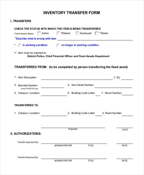 inventory transfer form