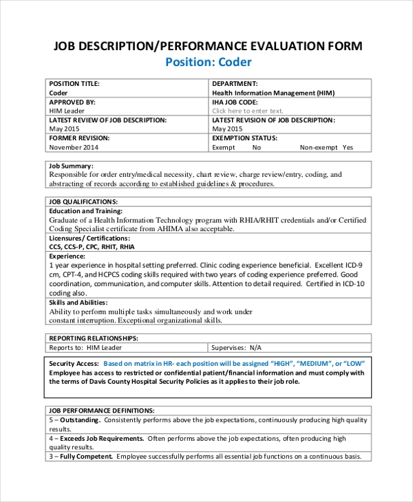 job description performance evaluation form