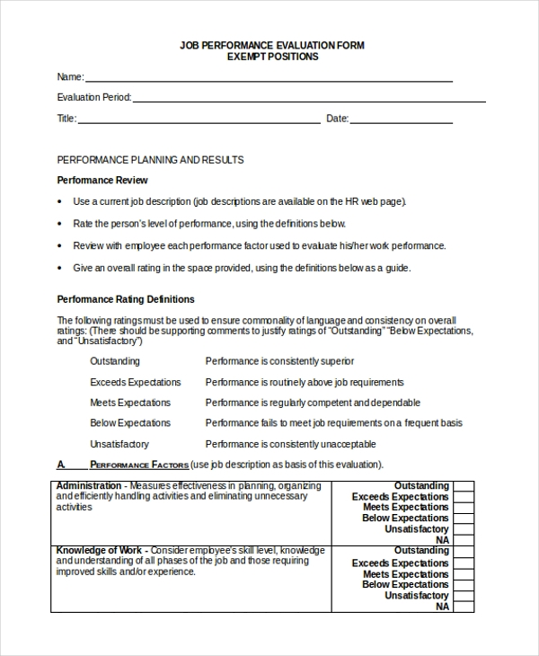 Sample Job Evaluation Form   Free Documents In Word Excel Pdf