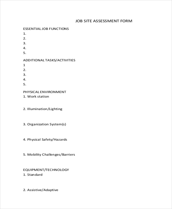 Job Assessment Form