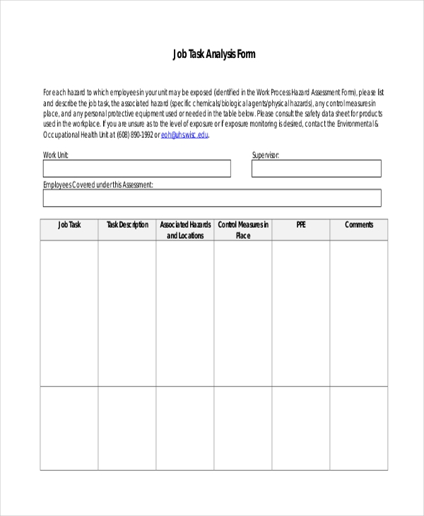 Sample Job Assessment Forms   Free Documents In Word Pdf