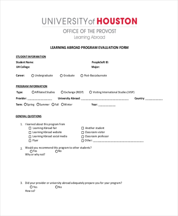 learning abroad program evaluation form