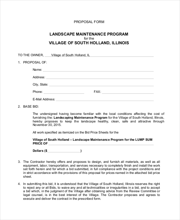 landscape proposal form