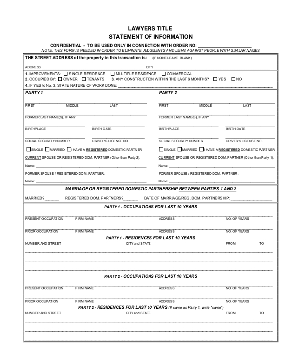 Sample Statement Of Information Form - 9+ Free Documents In Pdf
