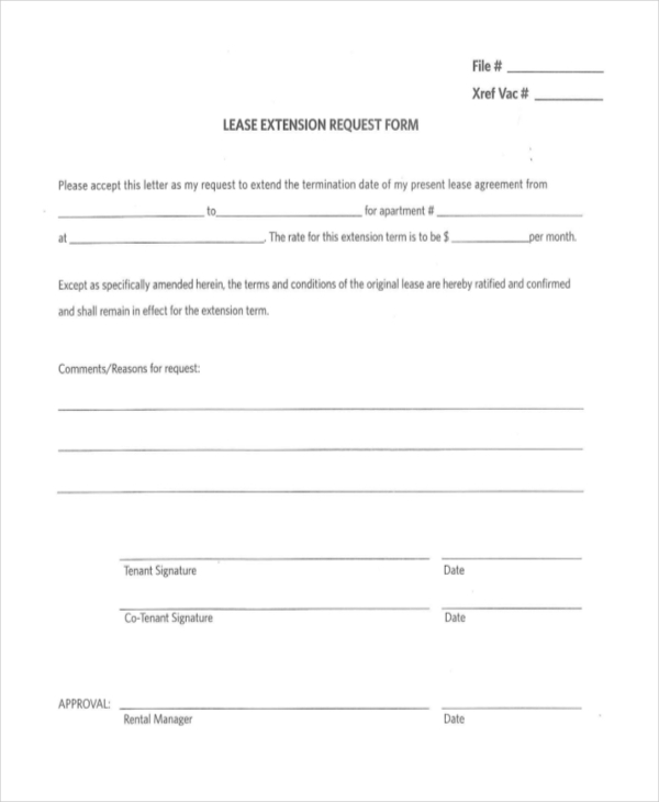 Lease Extension Forms 8 Free Documents in PDF – Lease Extension Agreement